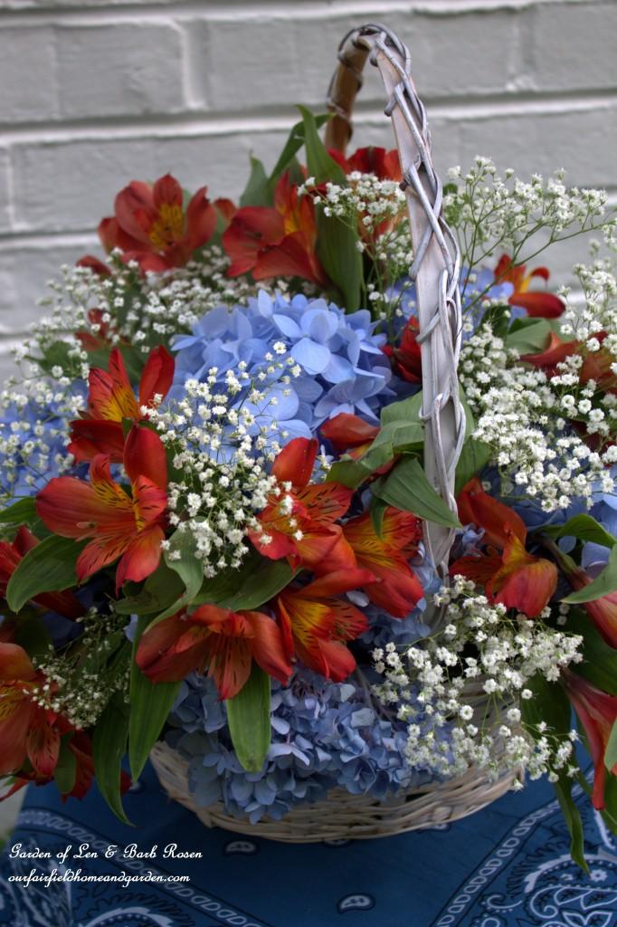 DIY Basket Bouquet https://ourfairfieldhomeandgarden.com/diy-basket-bouquet-for-cheap/