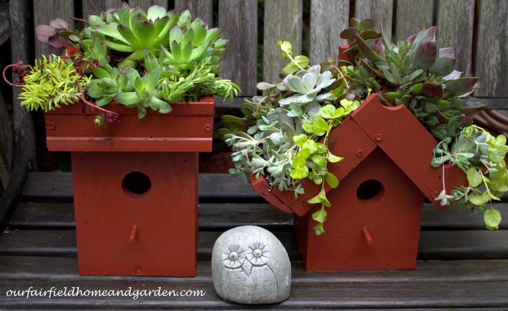 Green Roof Birdhouse https://ourfairfieldhomeandgarden.com/diy-easy-greenroof-birdhouses/