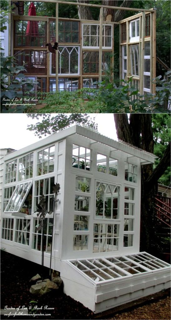 Our Fairfield Home and Garden's Repurposed Greenhouse https://ourfairfieldhomeandgarden.com/building-a-repurposed-windows-greenhouse/