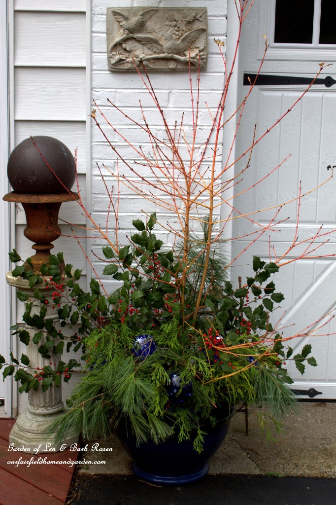 Winter Containers http://ourfairfieldhomeandgarden.com/rustic-winter-our-fairfield-home-and-garden/