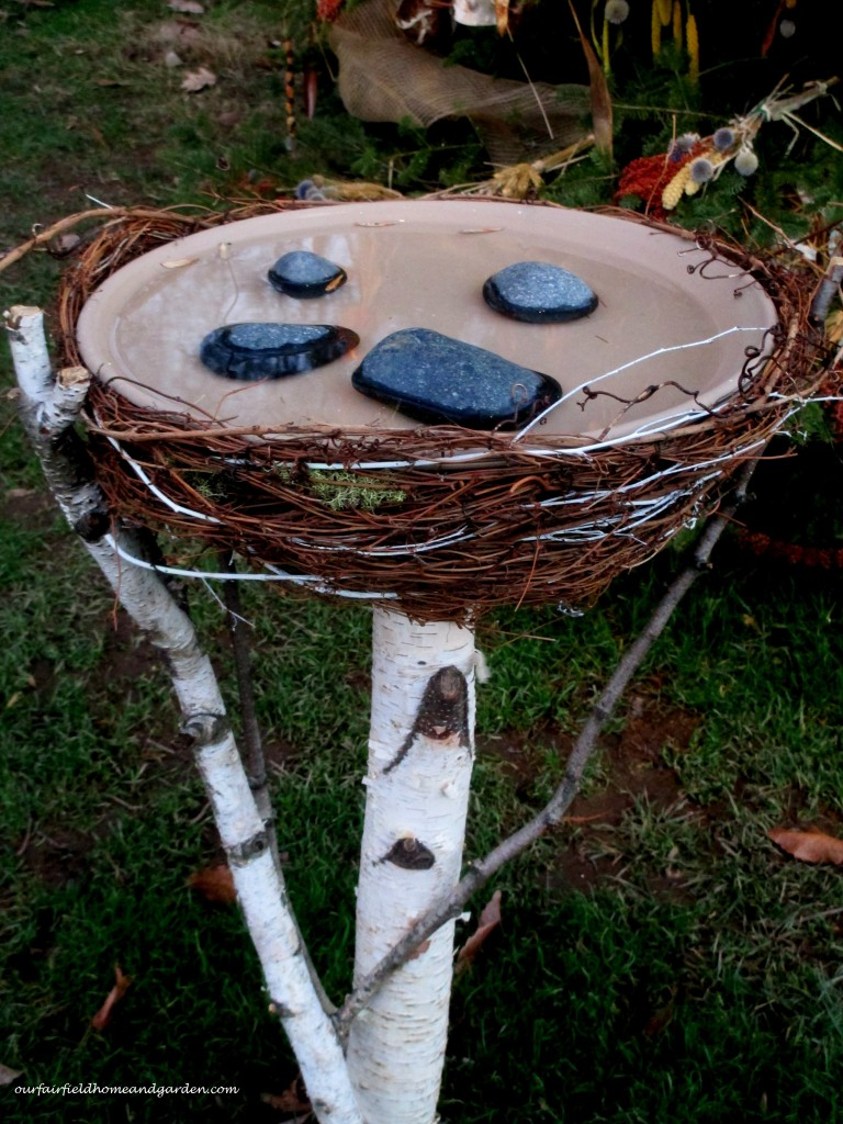 Birch Birdbath https://ourfairfieldhomeandgarden.com/a-longwood-christmas-evening-stroll/