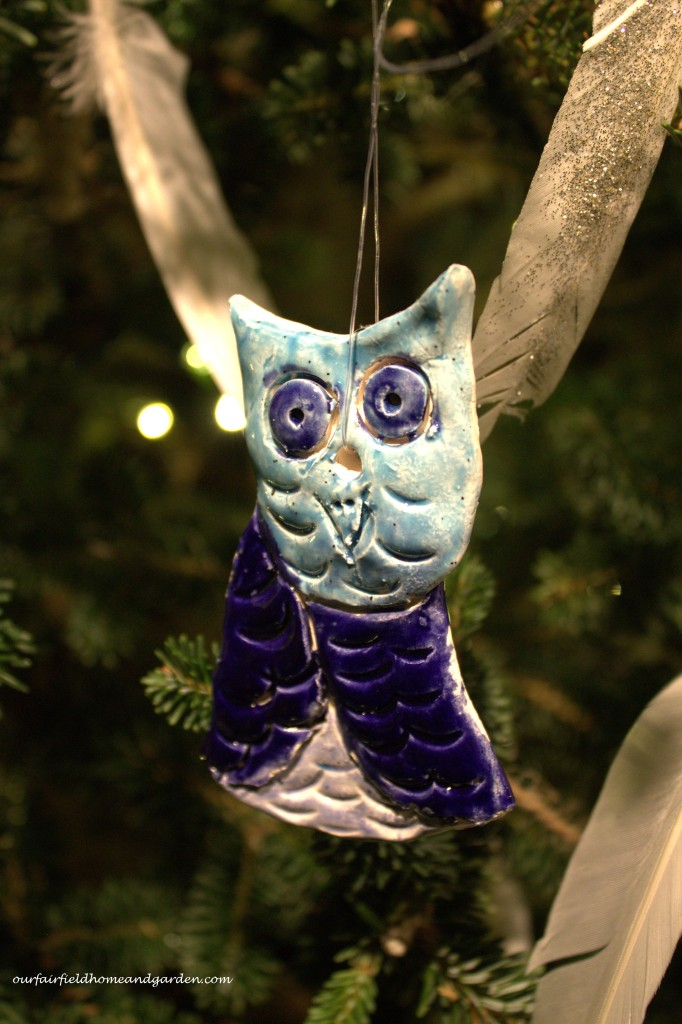 Clay Owl Ornament https://ourfairfieldhomeandgarden.com/a-longwood-christmas-evening-stroll/