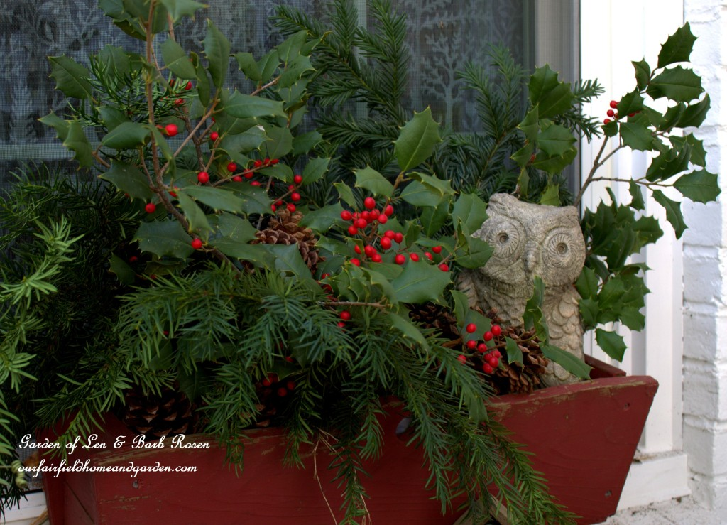 Owl Windowbox https://ourfairfieldhomeandgarden.com/rustic-winter-our-fairfield-home-and-garden/