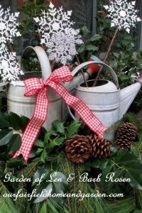Rustic Windowboxes http://ourfairfieldhomeandgarden.com/rustic-watering-cans-windowboxes-more/