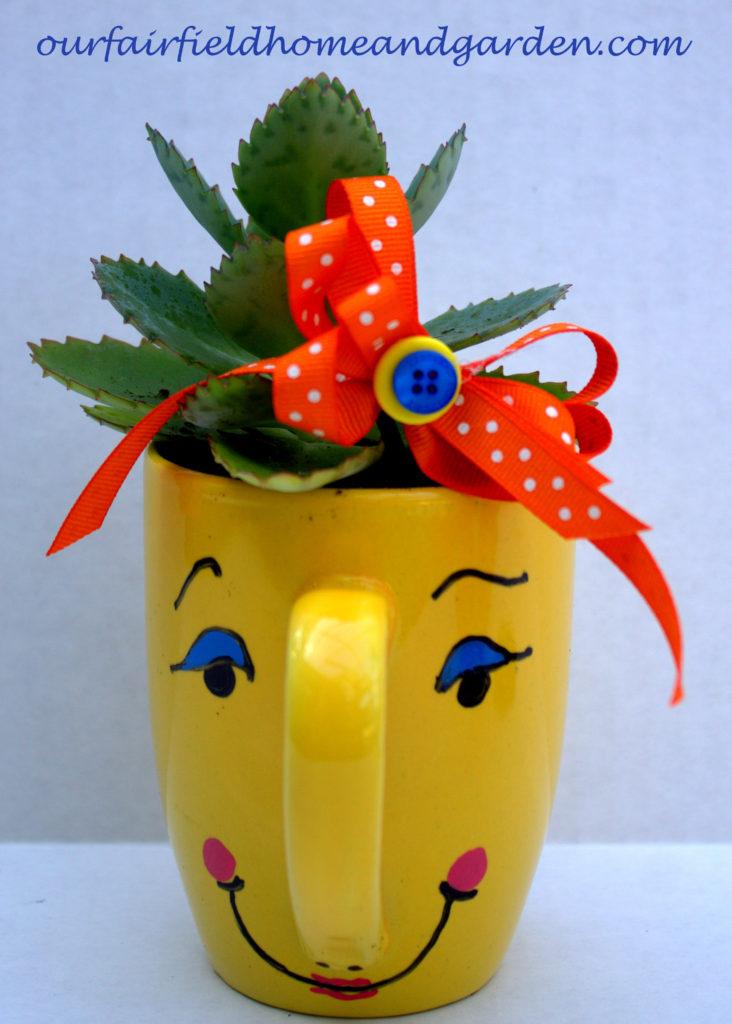 Mugsie Planter http://ourfairfieldhomeandgarden.com/mug-pots/