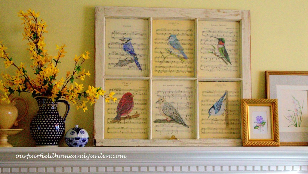 Watercolor Bird Prints in a Vintage Window Frame by Barb Rosen https://ourfairfieldhomeandgarden.com/recycled-window-picture-frame/