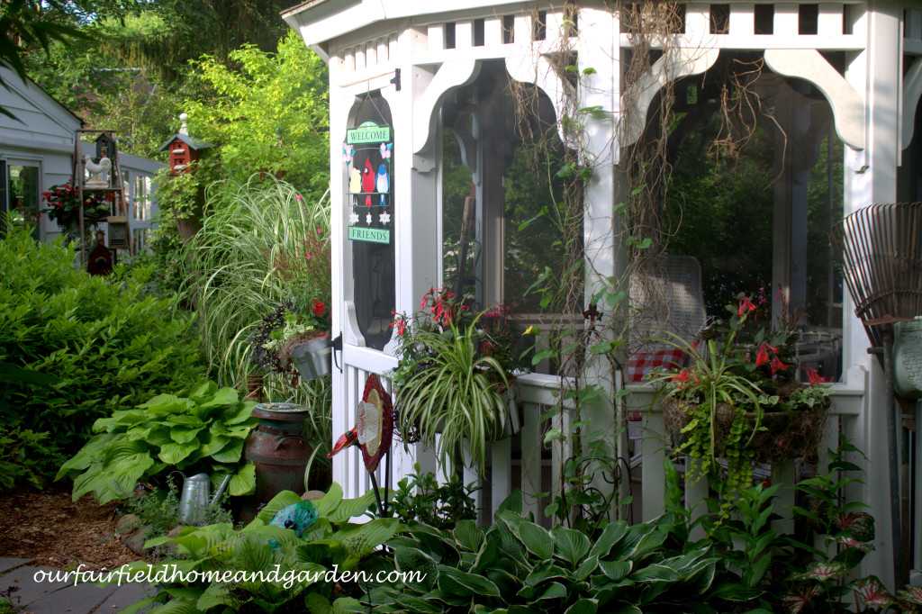 Summer Gazebo https://ourfairfieldhomeandgarden.com/our-fairfield-home-and-garden-tour/