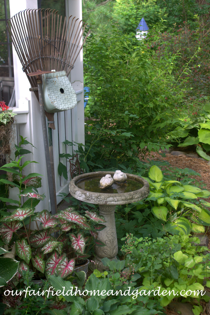 Gazebo Birdbath http://ourfairfieldhomeandgarden.com/our-fairfield-home-and-garden-tour/