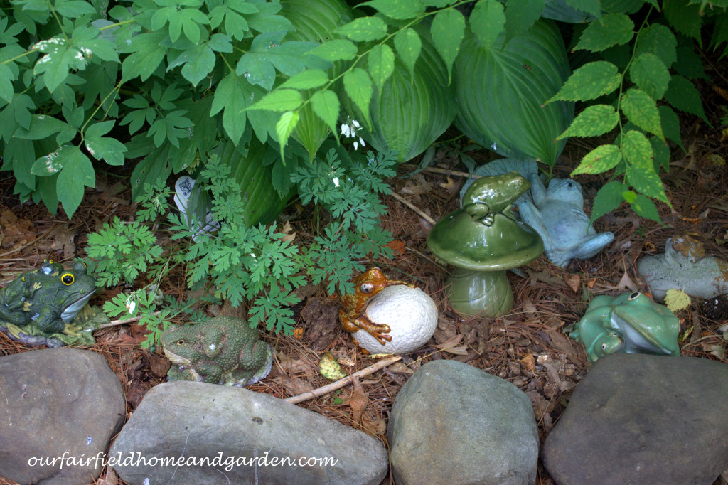 Garden Frogs http://ourfairfieldhomeandgarden.com/our-fairfield-home-and-garden-tour/