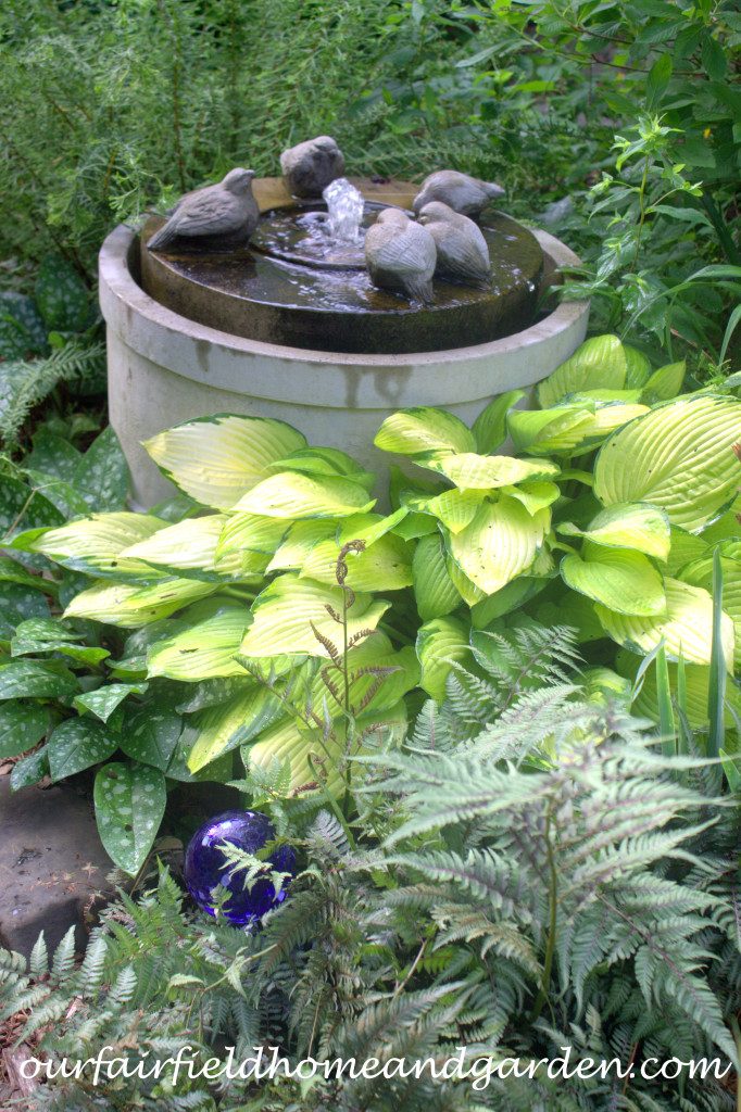 Bird Fountain https://ourfairfieldhomeandgarden.com/our-fairfield-home-and-garden-tour/
