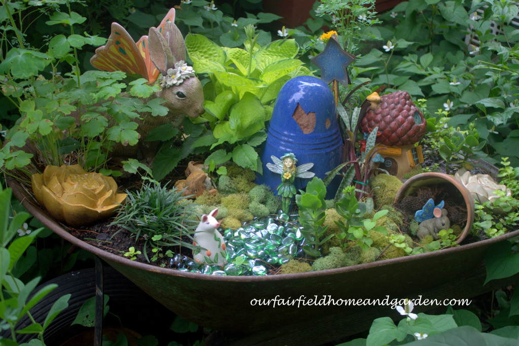 Wheelbarrow Fairy Garden https://ourfairfieldhomeandgarden.com/our-fairfield-home-and-garden-tour/