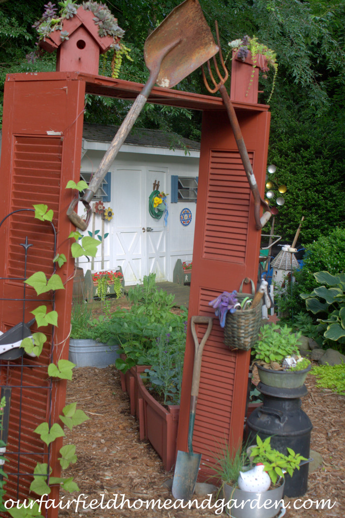 Shutter Garden Arbor https://ourfairfieldhomeandgarden.com/our-fairfield-home-and-garden-tour/
