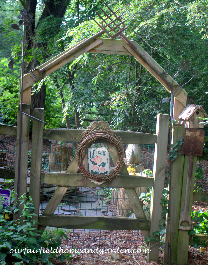 Rusty Tool Arbor http://ourfairfieldhomeandgarden.com/our-fairfield-home-and-garden-tour/
