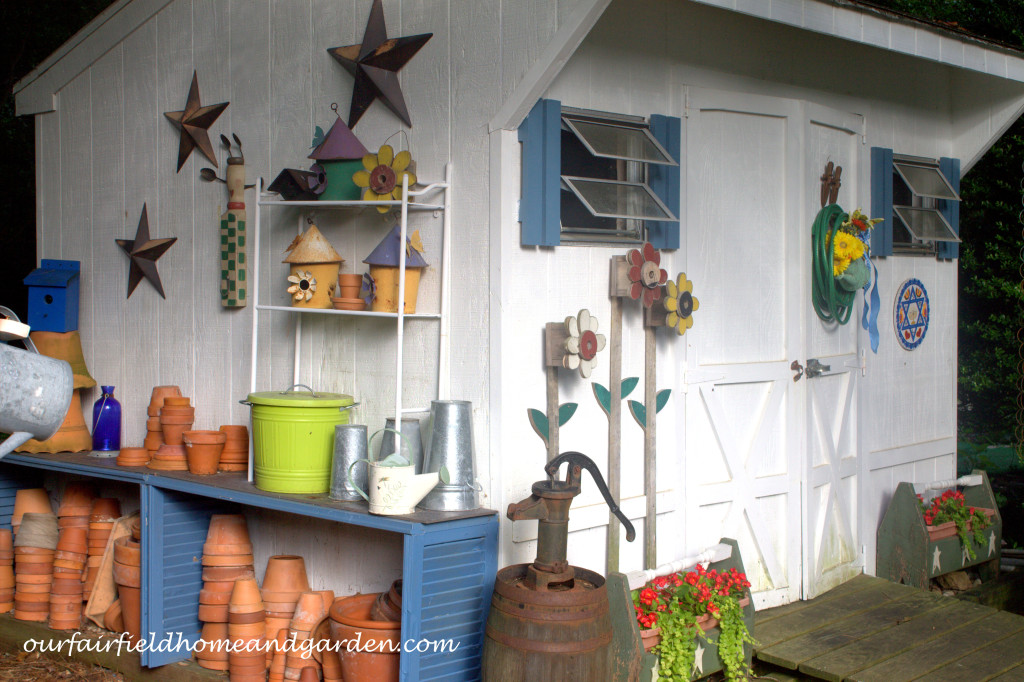 Garden Shed https://ourfairfieldhomeandgarden.com/our-fairfield-home-and-garden-tour/