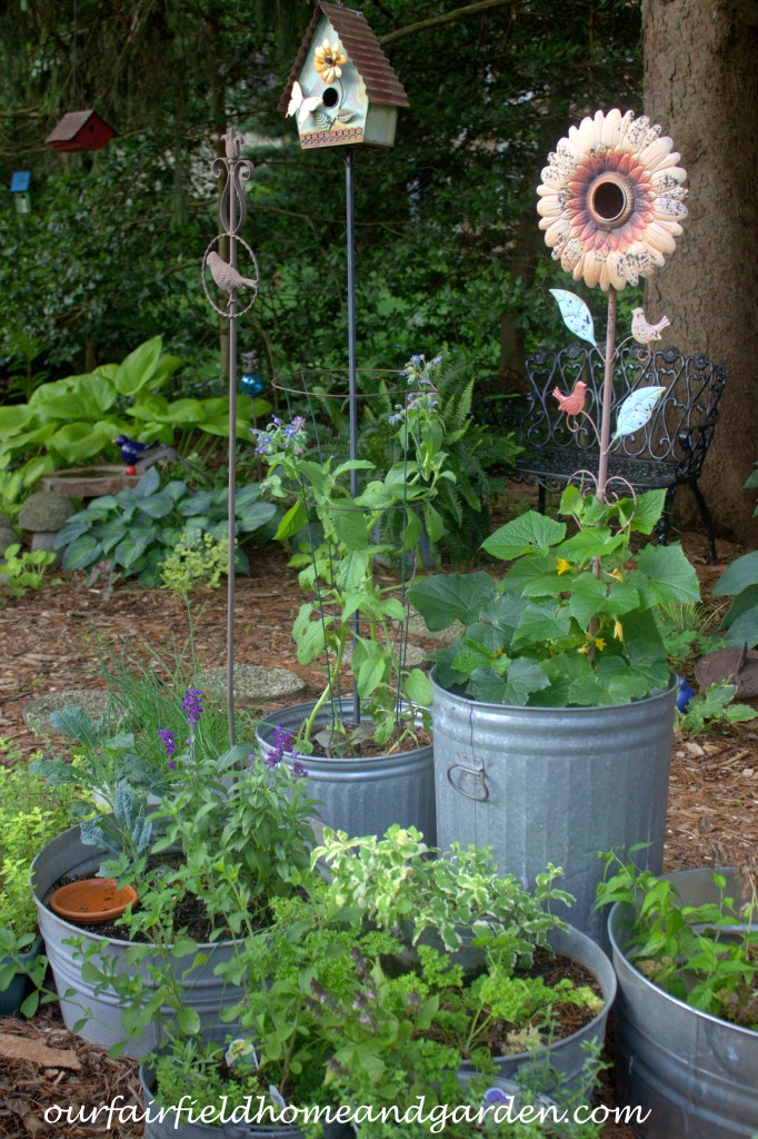 Galvanized Container Garden http://ourfairfieldhomeandgarden.com/our-fairfield-home-and-garden-tour/