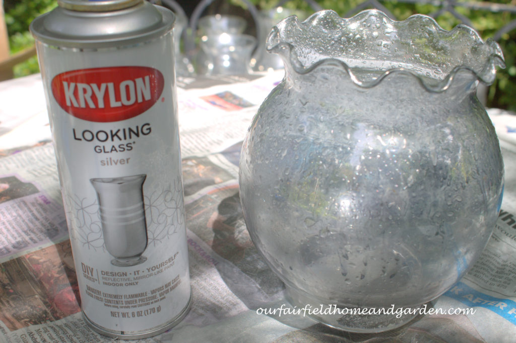 Transforming plain glassware with spray paint! http://ourfairfieldhomeandgarden.com/glam-up-your-wedding-glassware-wedding-flowers-for-less/