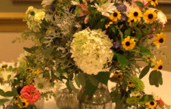 Wedding Flowers in DIY Faux Mercury Glass Vases