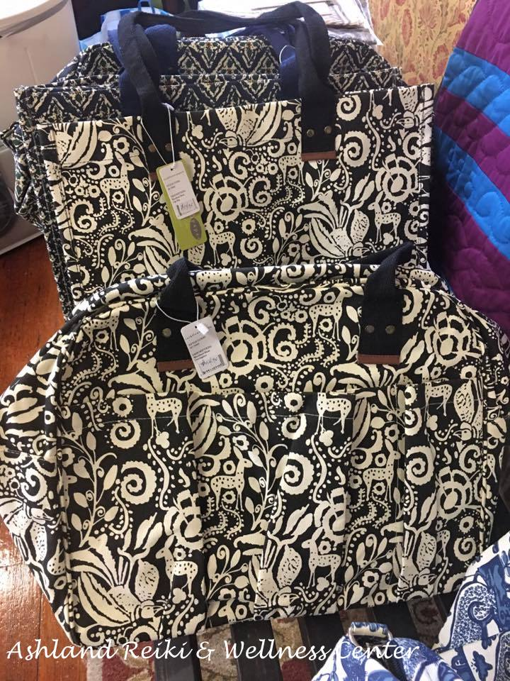 Printed canvas bags in blue, black, rust and green are sturdy, pretty & practical! http://ourfairfieldhomeandgarden.com/field-trip-ashland-reiki-wellness-center/