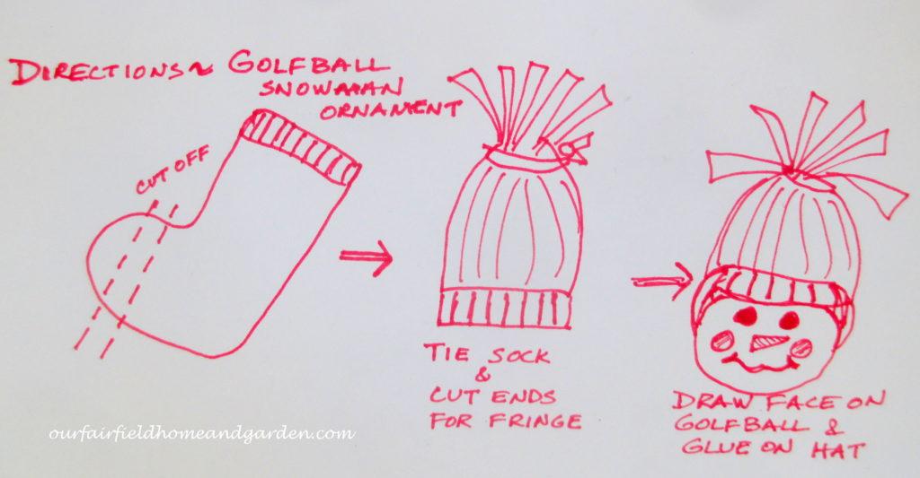 Snowman Ornaments ~ from golf balls! https://ourfairfieldhomeandgarden.com/snowman-ornaments-from-golfballs/