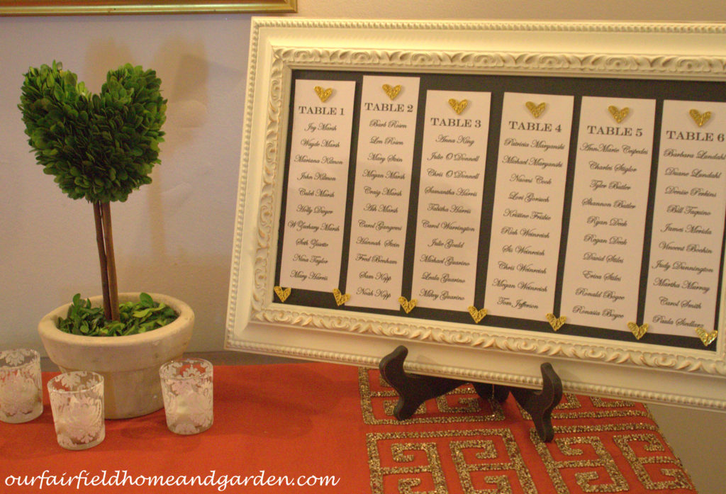 Wedding Seating Chart http://ourfairfieldhomeandgarden.com/loving-touches-create-an-elegant-wedding-for-less/