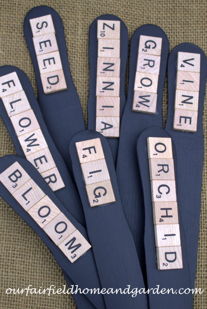 Scrabble Tile Plant Labels http://ourfairfieldhomeandgarden.com/scrabble-tile-plant-labels/