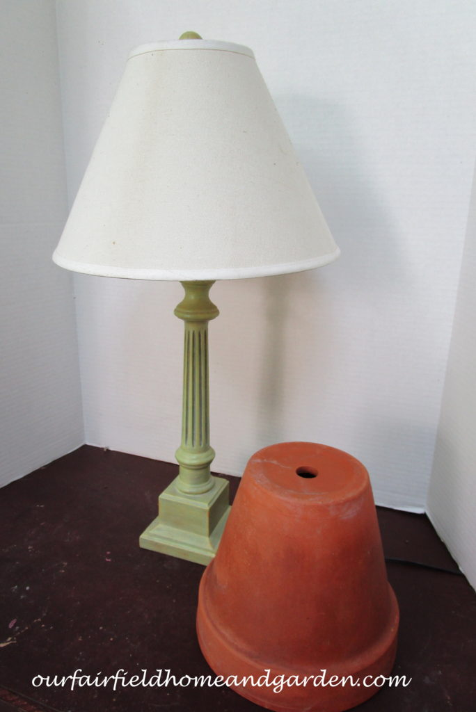 Flower Pot Lamp Shade http://ourfairfieldhomeandgarden.com/lamps-with-a-gardeners-touch/